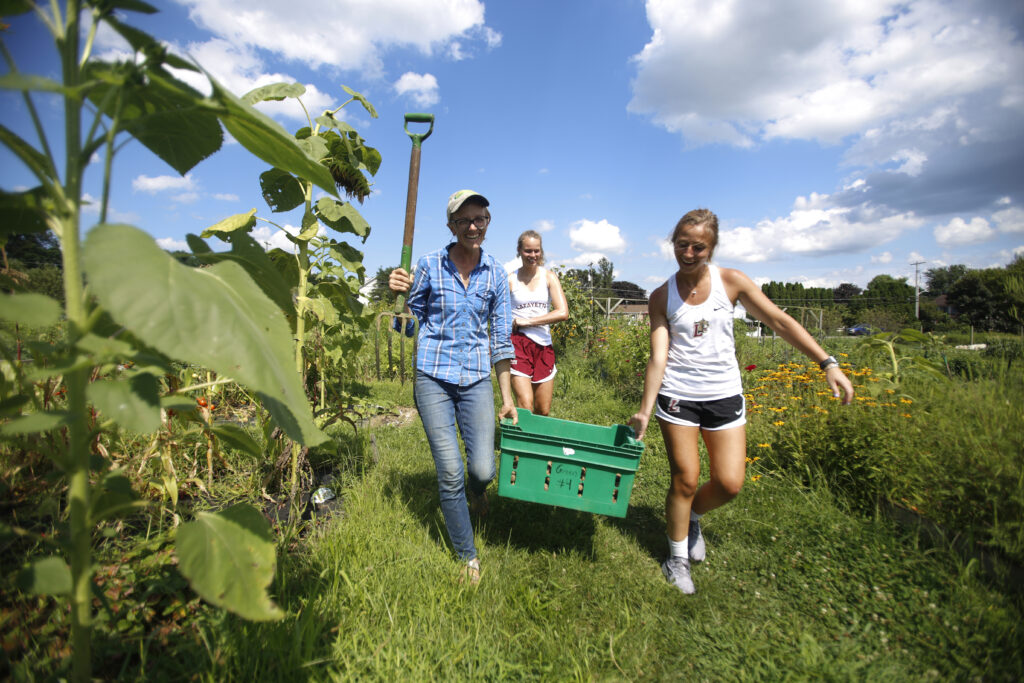 Lis smiles and carries produce in a bin with student volunteers at LaFarm